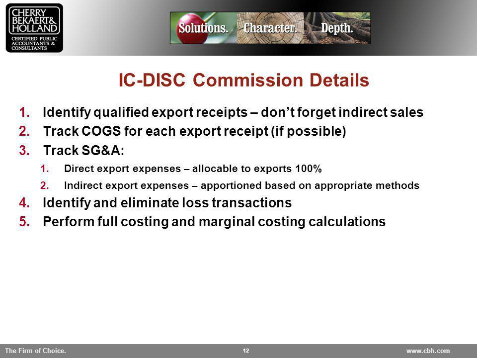IC-DISC Commission Details