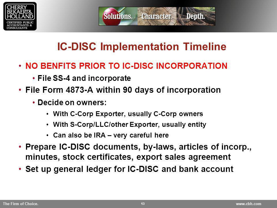 IC-DISC Implementation Timeline