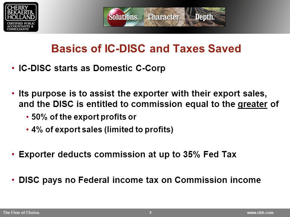 Basics of IC-DISC and Taxes Saved