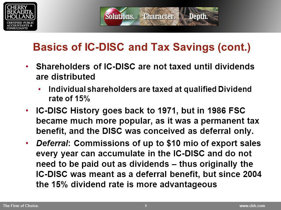 Basics of IC-DISC and Tax Savings (cont.)