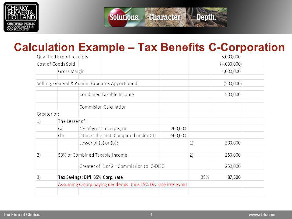 Calculation Example – Tax Benefits C-Corporation