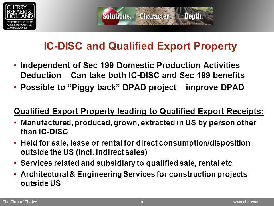 IC-DISC and Qualified Export Property