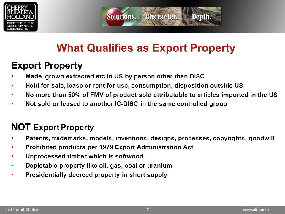 What Qualifies as Export Property
