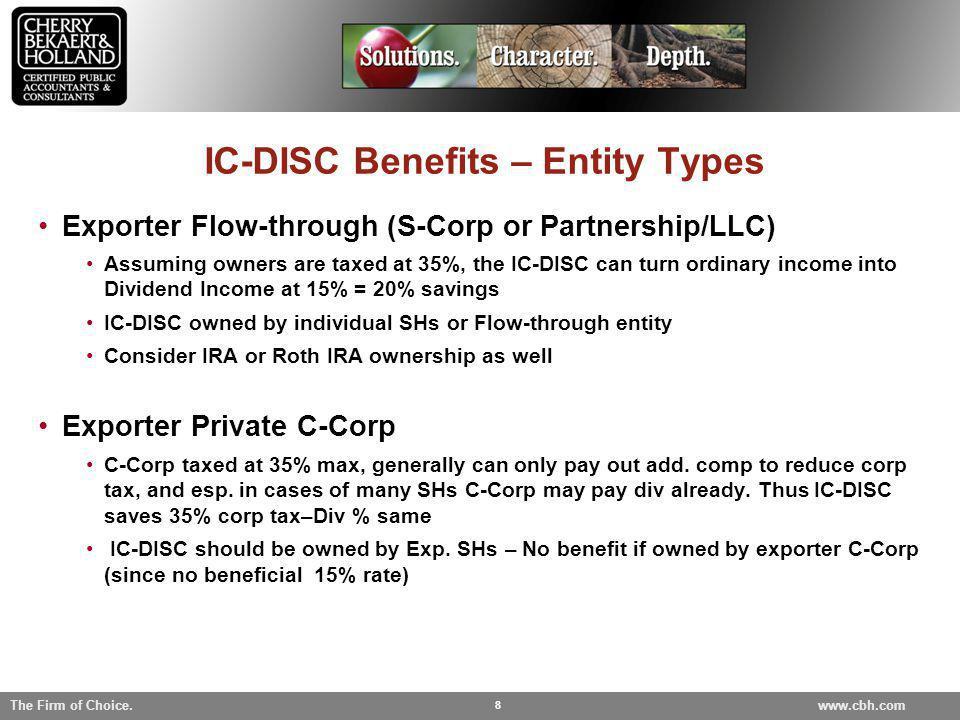 IC-DISC Benefits – Entity Types