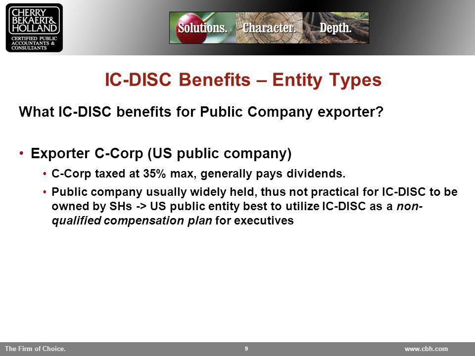 IC-DISC Benefits – Entity Types
