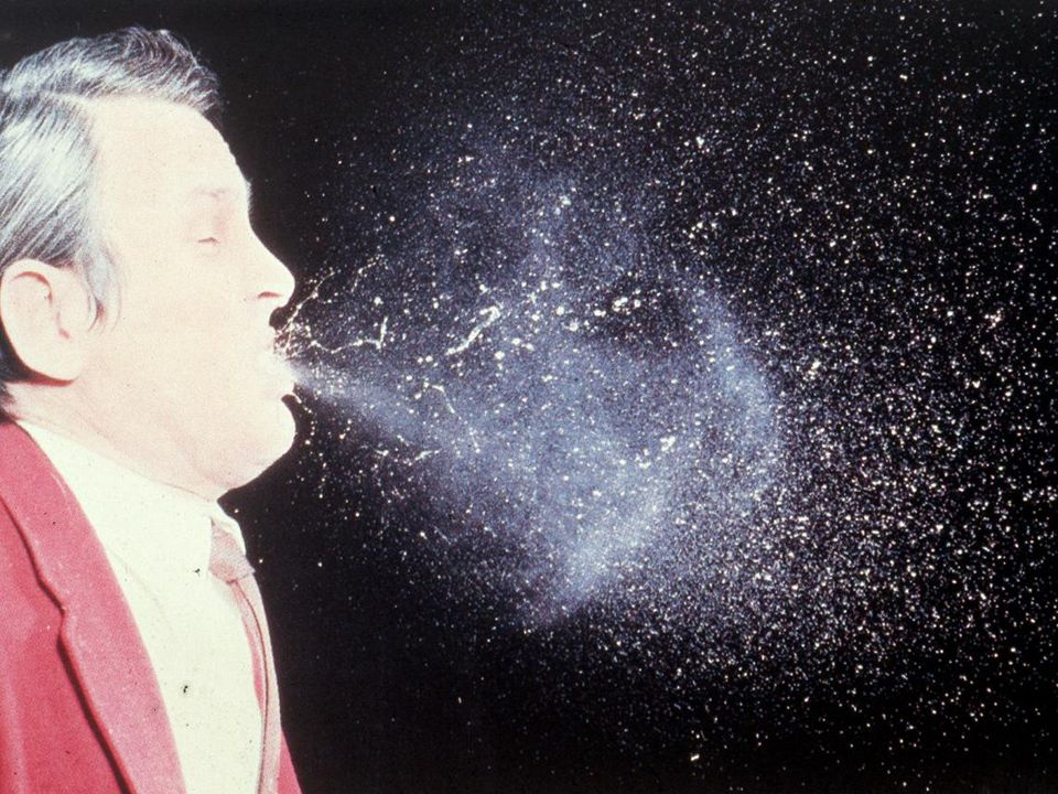 This illustrates what happens when someone sneezes