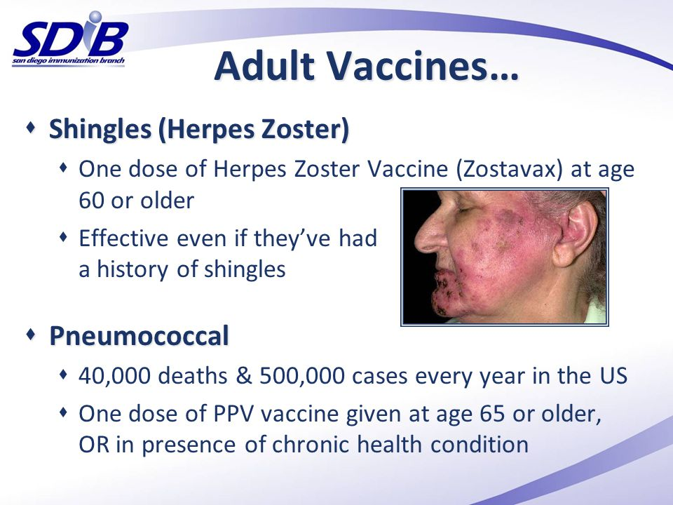 Adult Vaccines… Shingles (Herpes Zoster) Pneumococcal