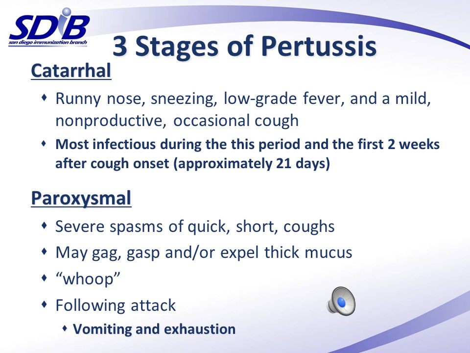 3 Stages of Pertussis Catarrhal Paroxysmal