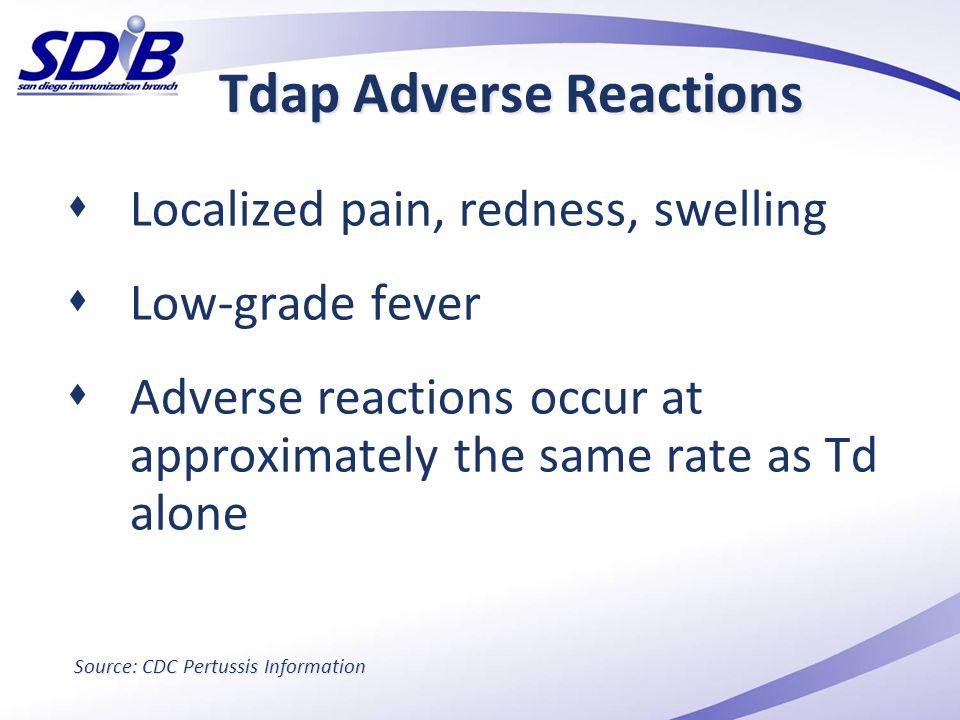 Tdap Adverse Reactions