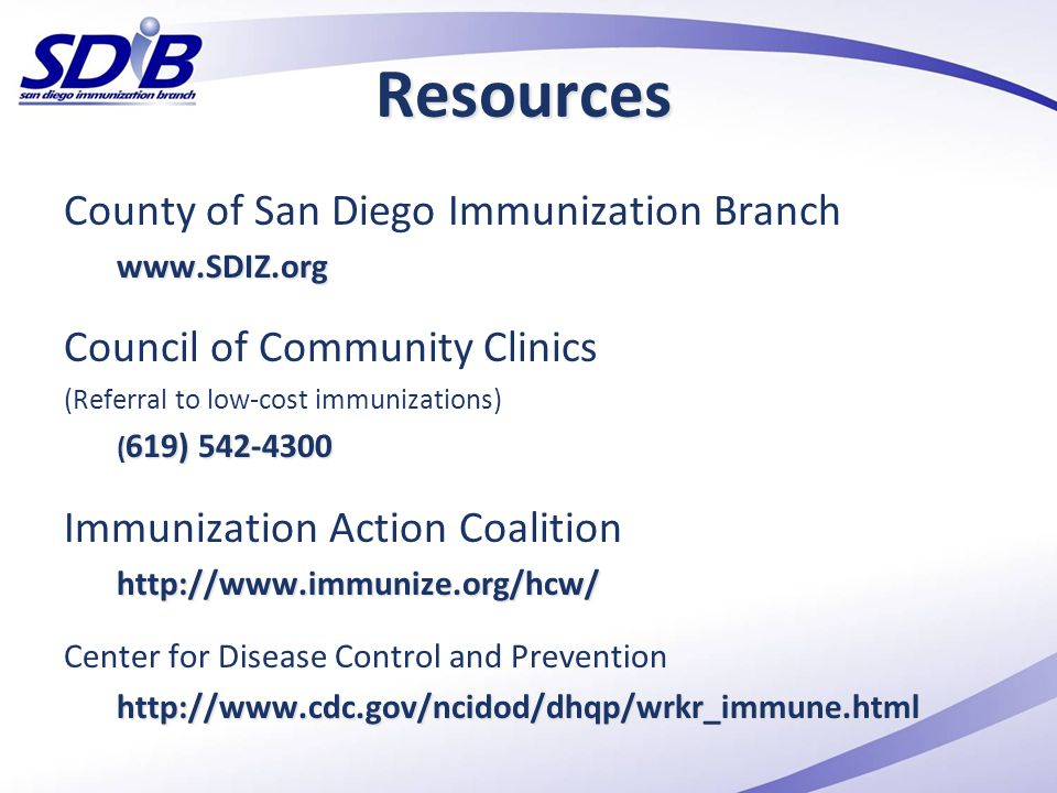 Resources County of San Diego Immunization Branch