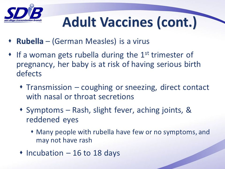 Adult Vaccines (cont.) Rubella – (German Measles) is a virus