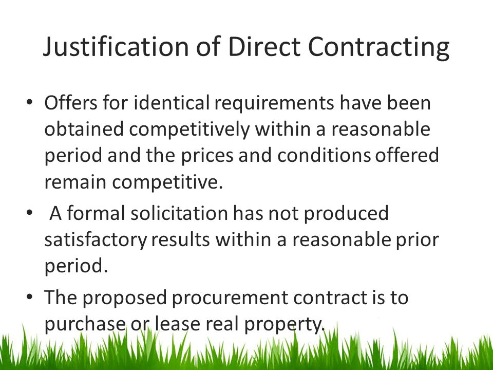 Justification of Direct Contracting