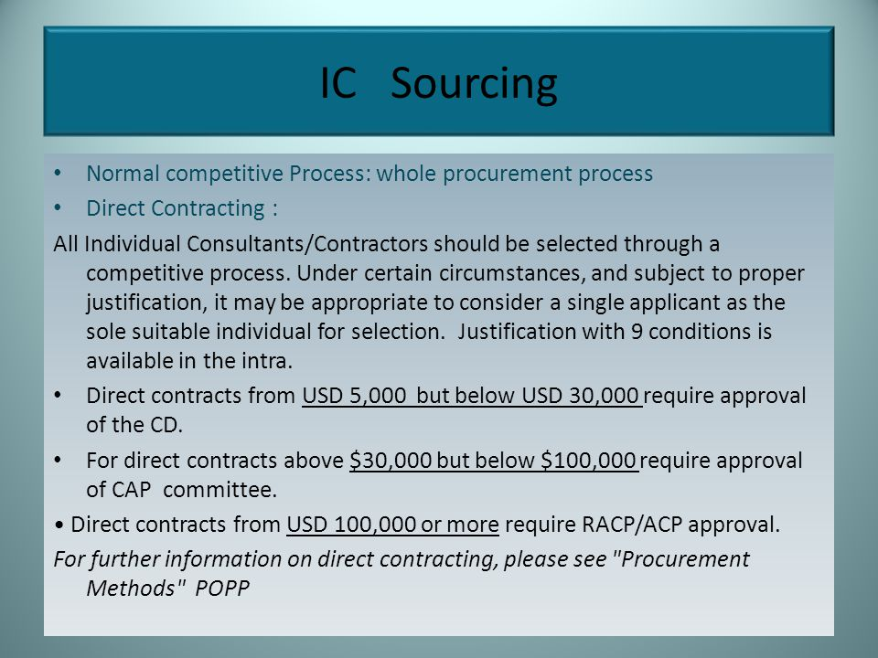 IC Sourcing Normal competitive Process: whole procurement process