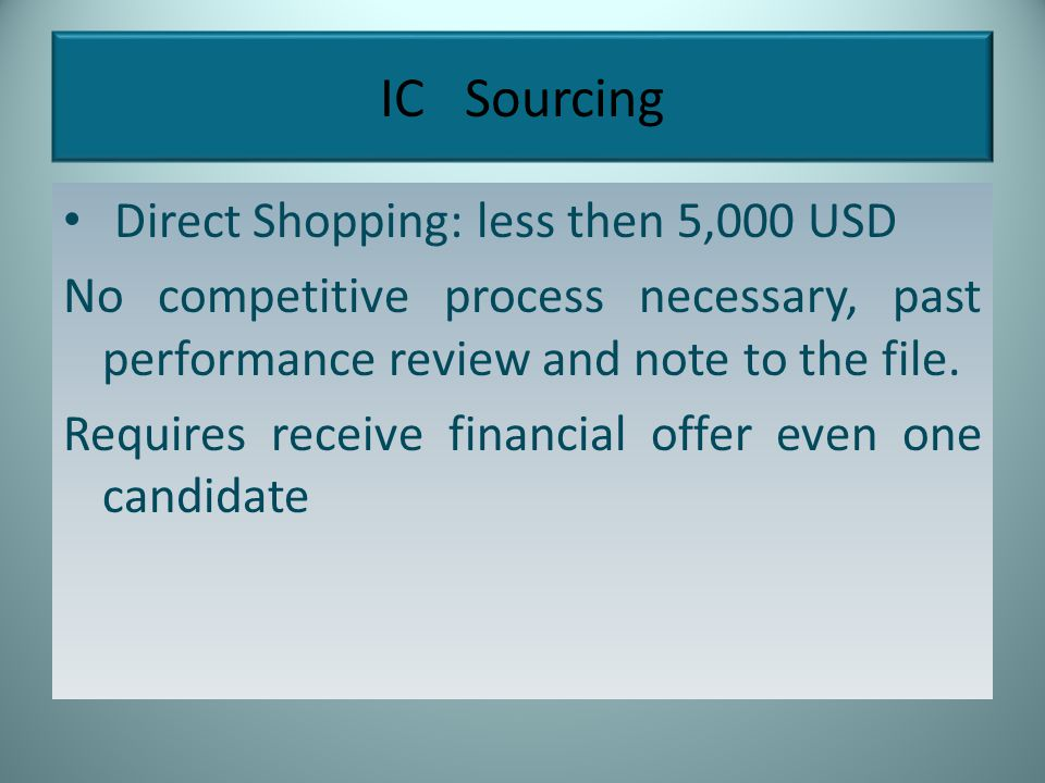 IC Sourcing Direct Shopping: less then 5,000 USD