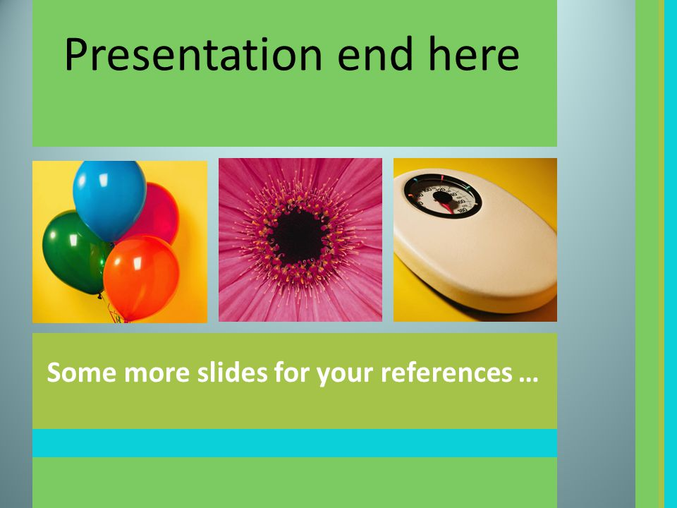 Presentation end here Some more slides for your references …