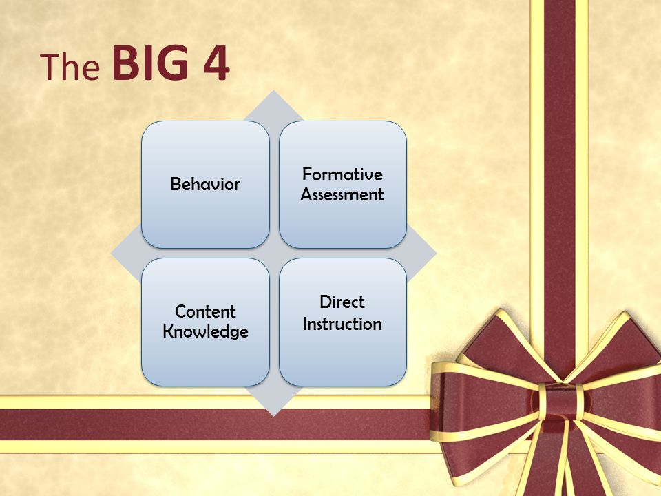 The BIG 4 Formative Assessment Behavior Direct Instruction