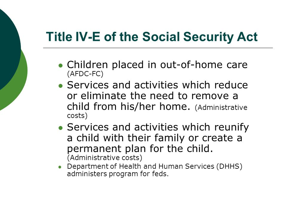 Title IV-E of the Social Security Act