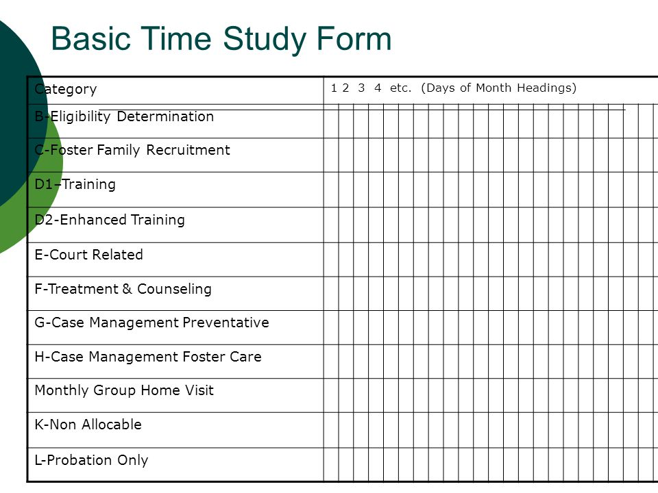 Basic Time Study Form Category B-Eligibility Determination