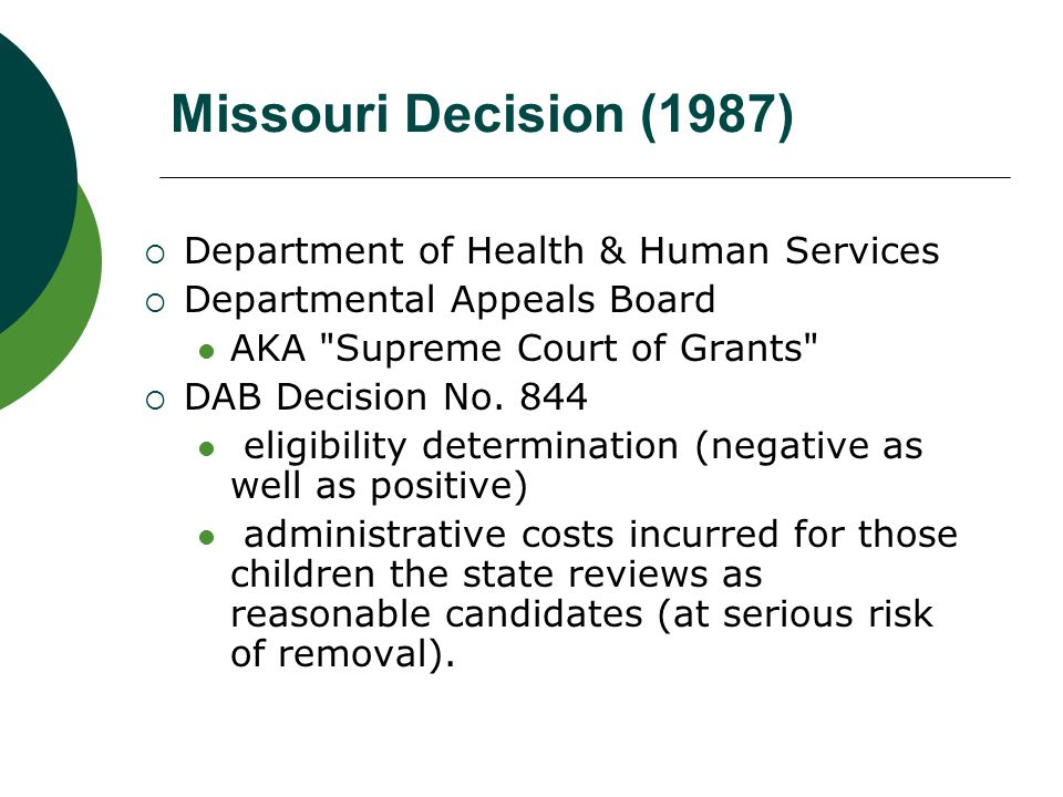 Missouri Decision (1987) Department of Health & Human Services