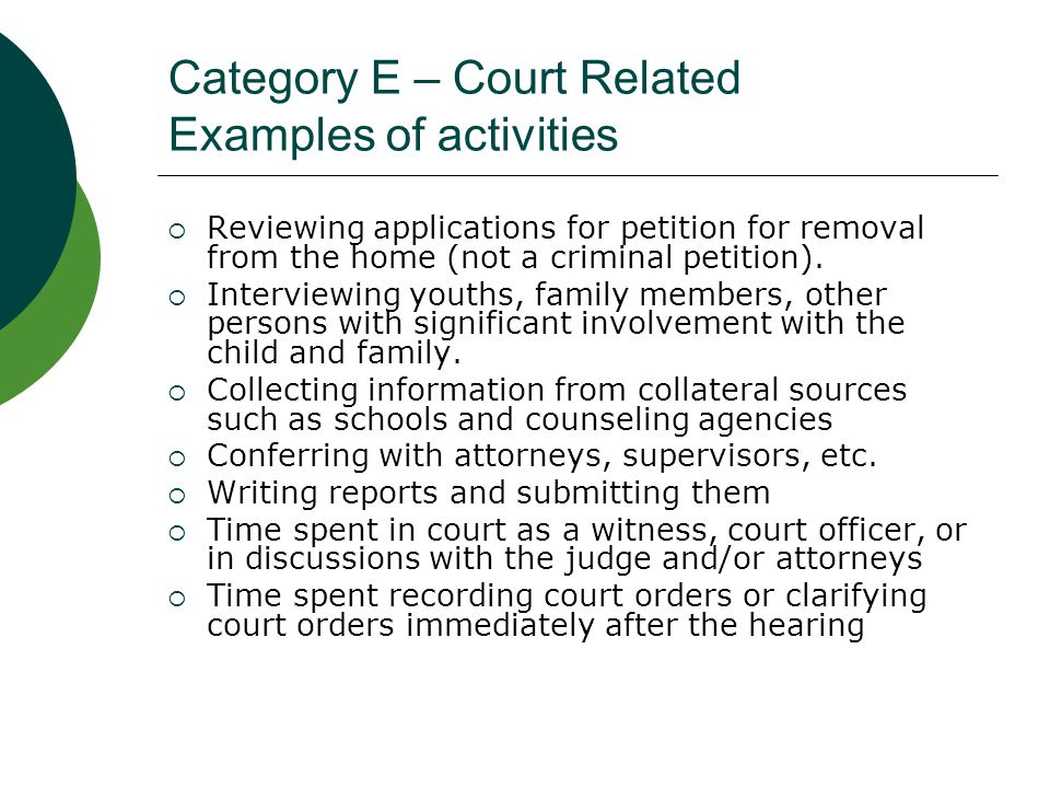 Category E – Court Related Examples of activities