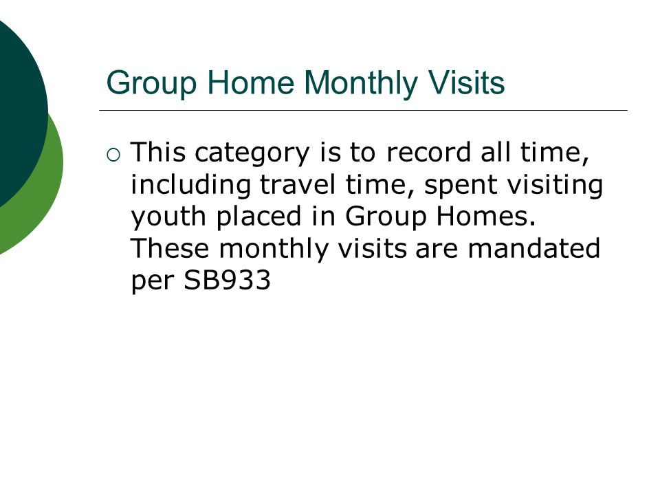 Group Home Monthly Visits