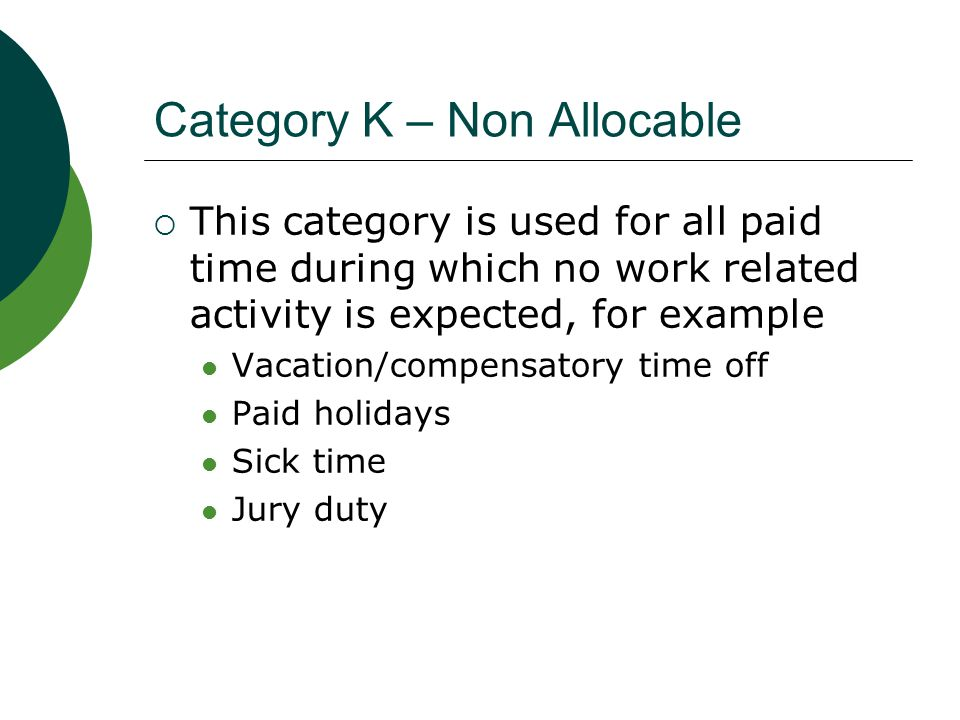Category K – Non Allocable