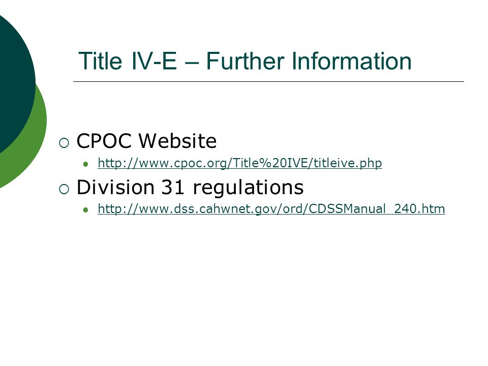 Title IV-E – Further Information