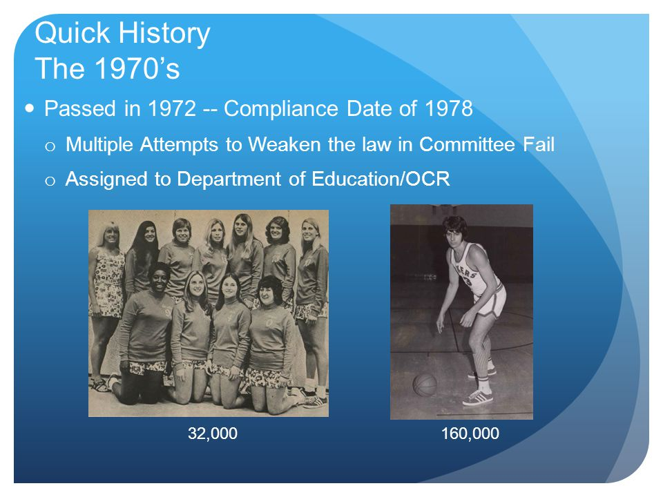 Quick History The 1970's Passed in 1972 -- Compliance Date of 1978