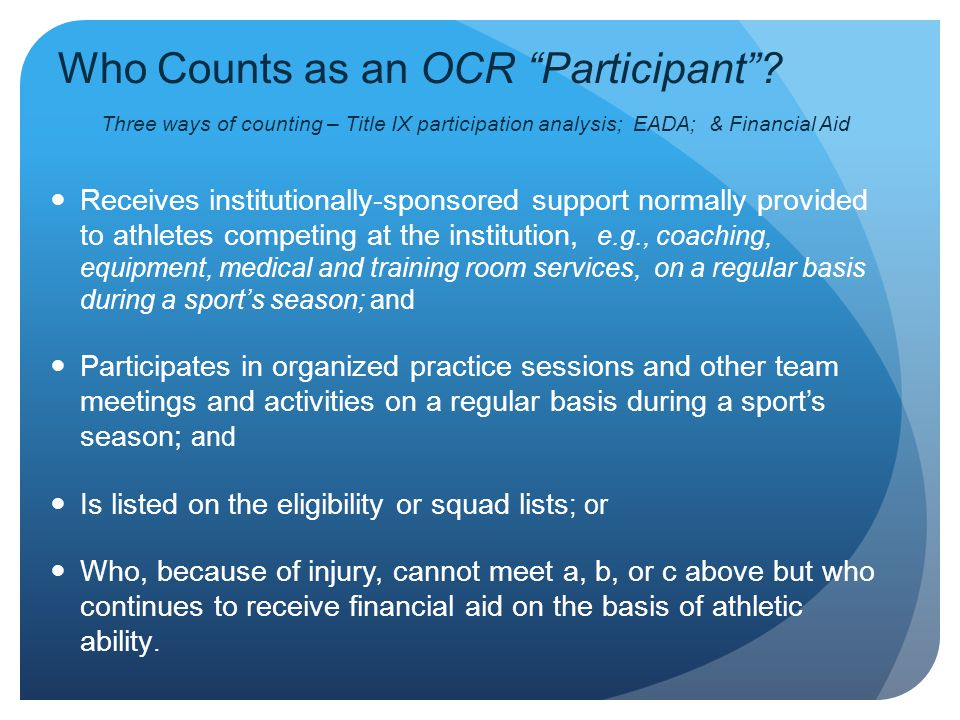 Who Counts as an OCR Participant
