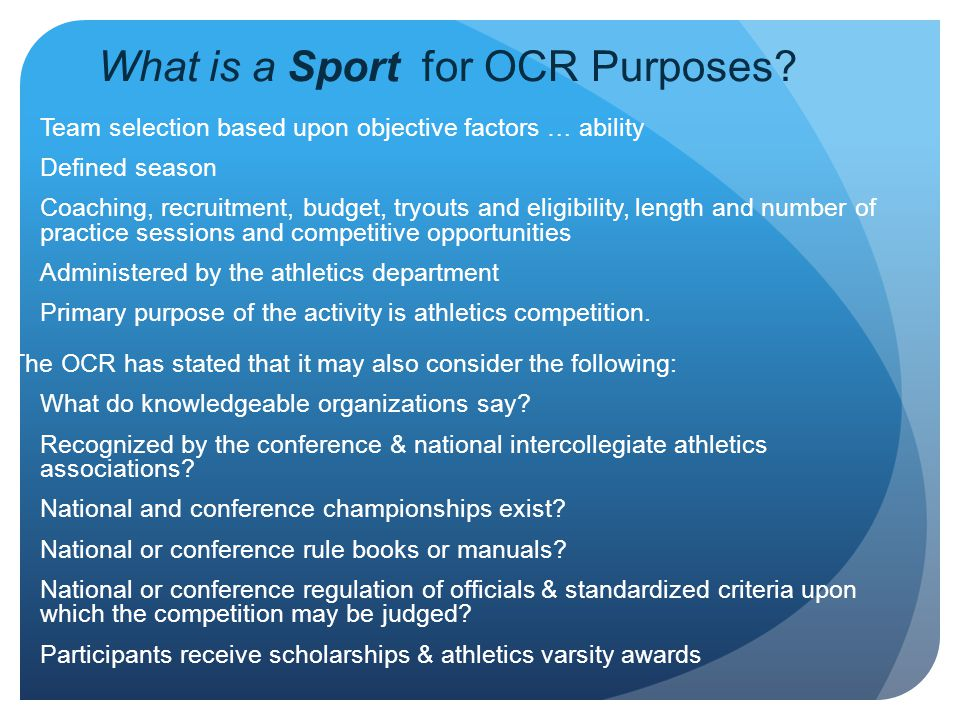 What is a Sport for OCR Purposes
