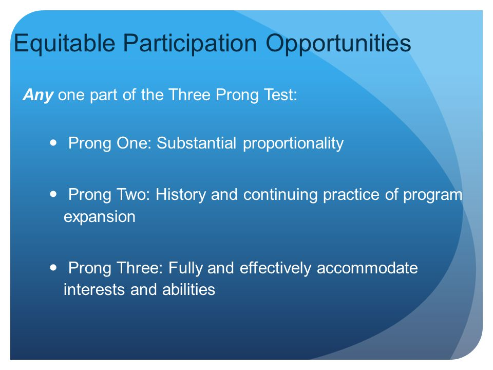 Equitable Participation Opportunities