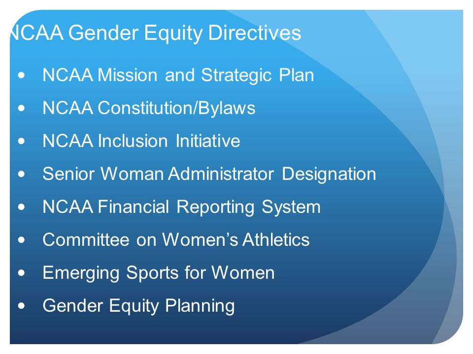 NCAA Gender Equity Directives