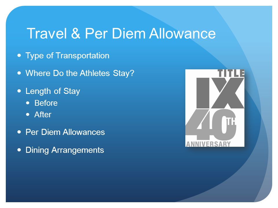 Travel & Per Diem Allowance