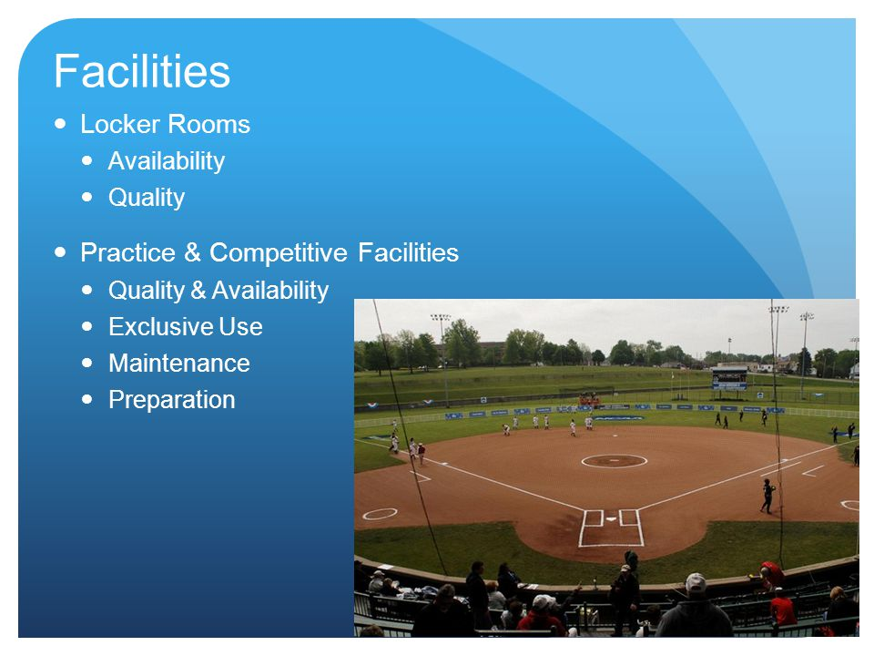 Facilities Locker Rooms Practice & Competitive Facilities Availability