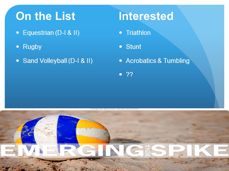 On the List Interested Equestrian (D-I & II) Rugby