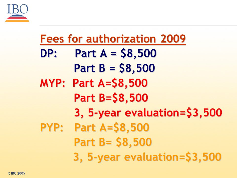 Fees for authorization 2009 DP: Part A = $8,500 Part B = $8,500