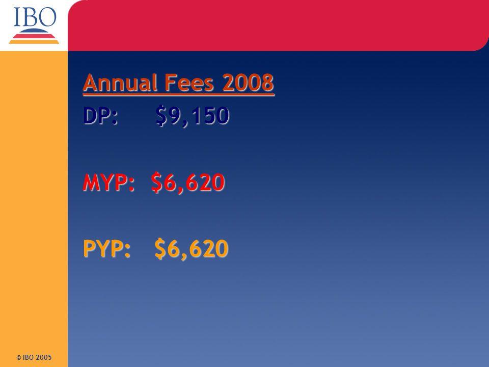 Annual Fees 2008 DP: $9,150 MYP: $6,620 PYP: $6,620