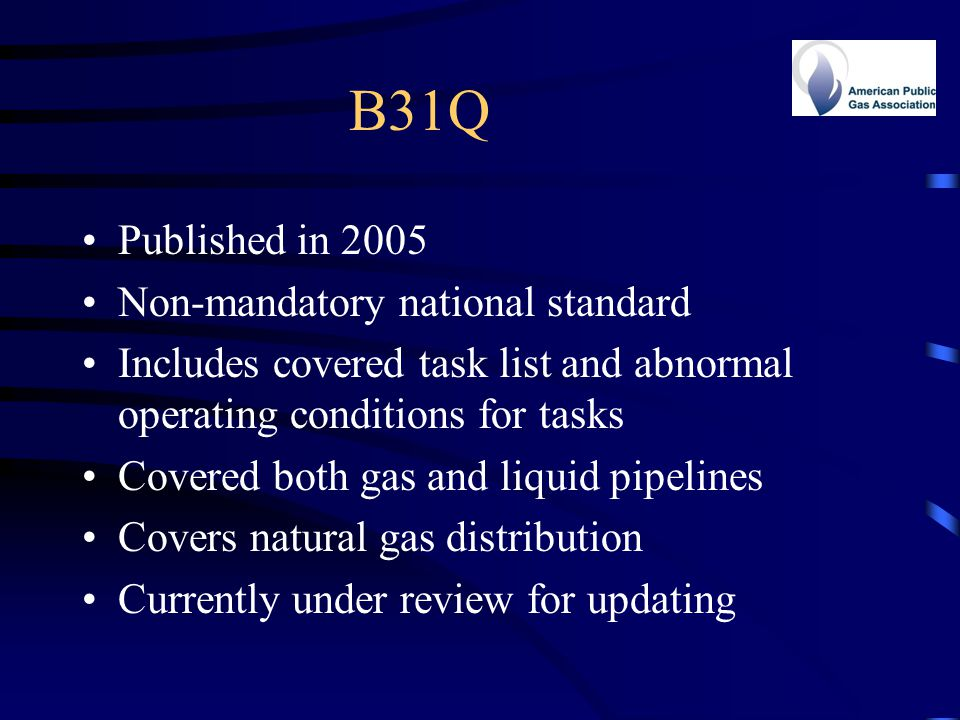 B31Q Published in 2005 Non-mandatory national standard