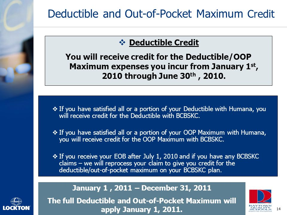 Deductible and Out-of-Pocket Maximum Credit