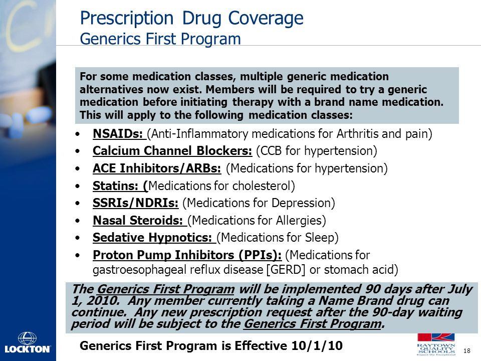 Prescription Drug Coverage Generics First Program