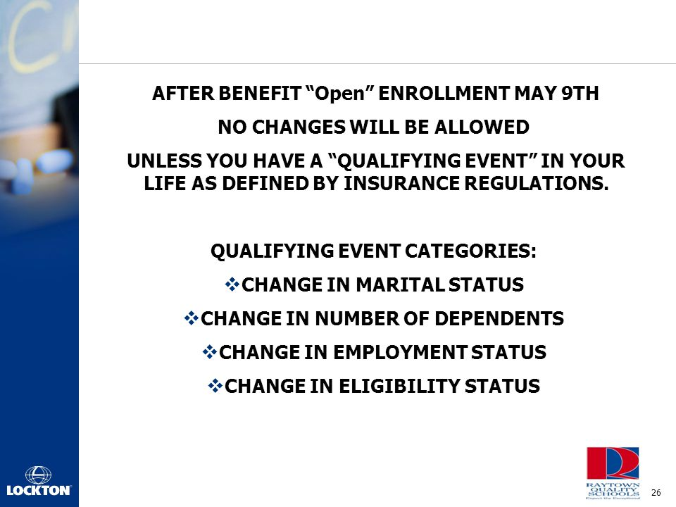 AFTER BENEFIT Open ENROLLMENT MAY 9TH NO CHANGES WILL BE ALLOWED