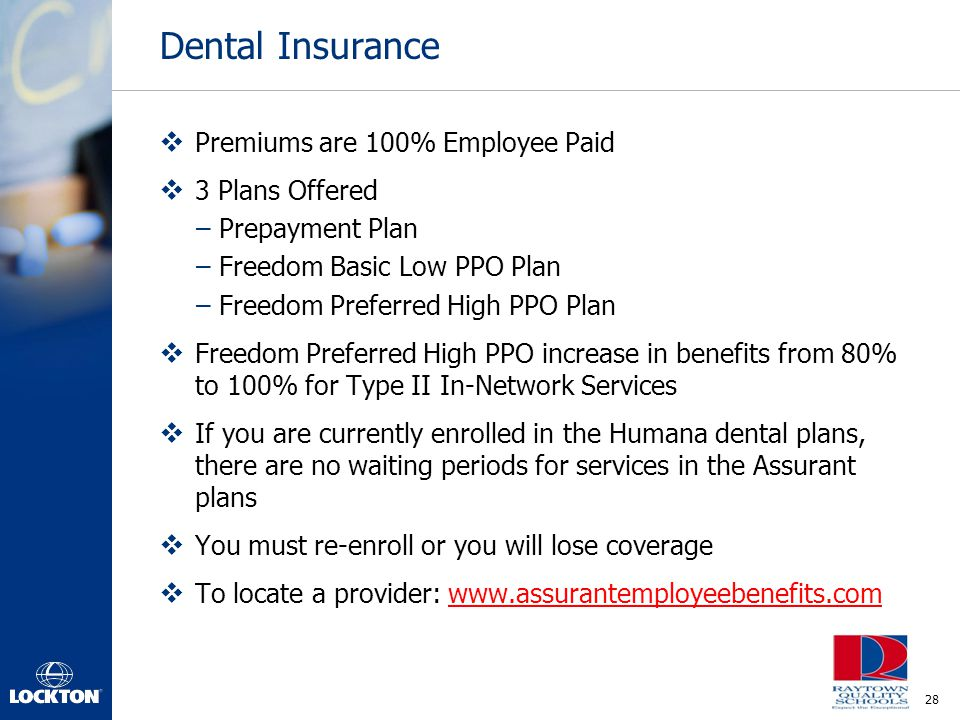 Dental Insurance Premiums are 100% Employee Paid 3 Plans Offered