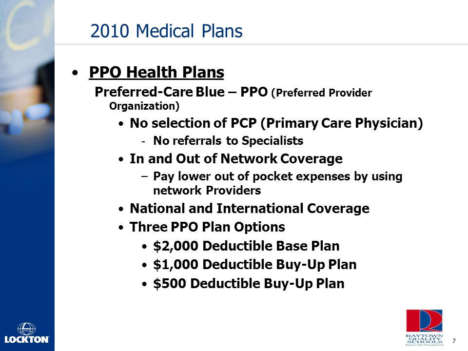 2010 Medical Plans PPO Health Plans