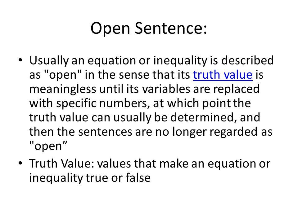 Open Sentence: