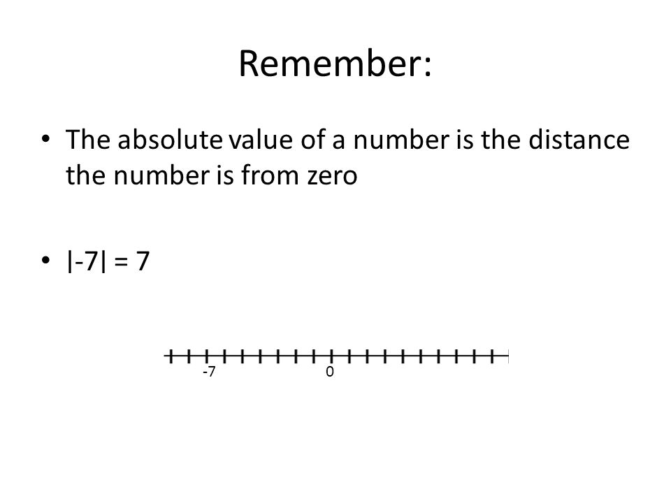 Remember: The absolute value of a number is the distance the number is from zero ∣-7∣ = 7 -7