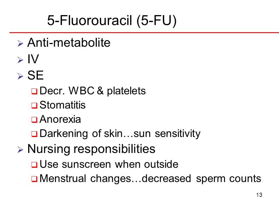 5-Fluorouracil (5-FU) Anti-metabolite IV SE Nursing responsibilities