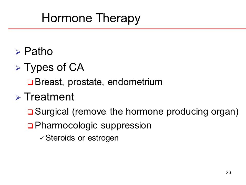 Hormone Therapy Patho Types of CA Treatment