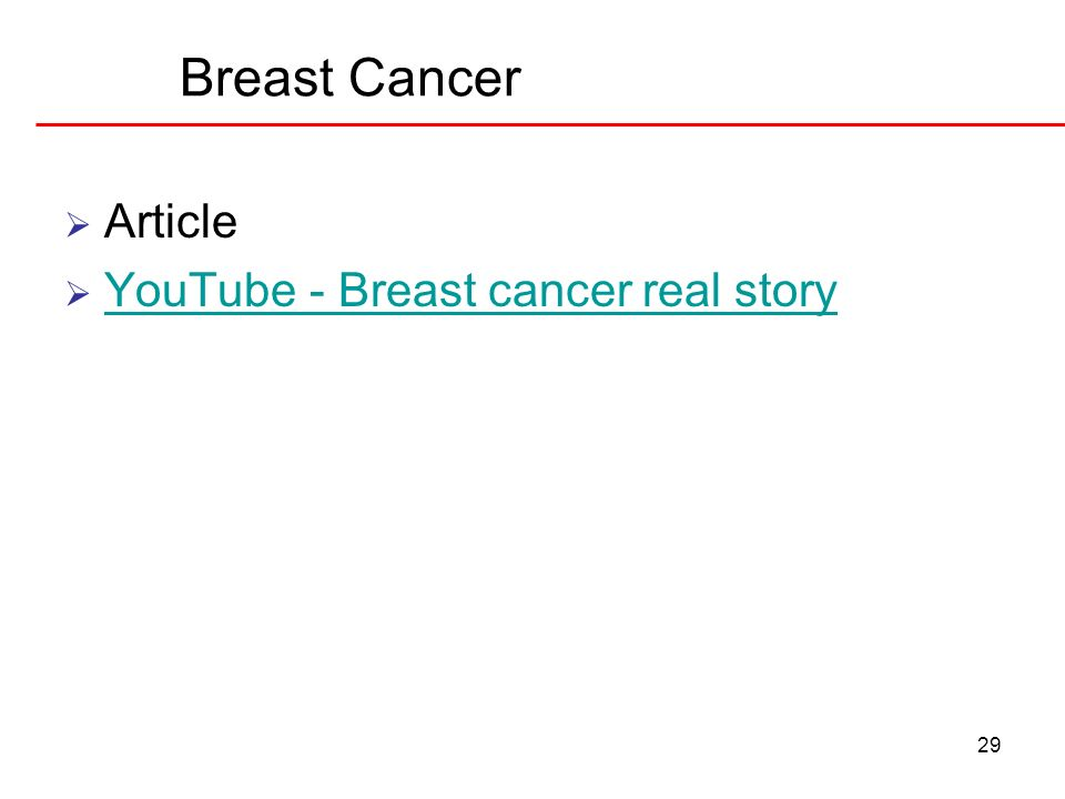 Breast Cancer Article YouTube - Breast cancer real story