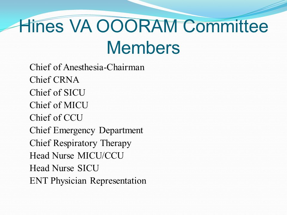 Hines VA OOORAM Committee Members