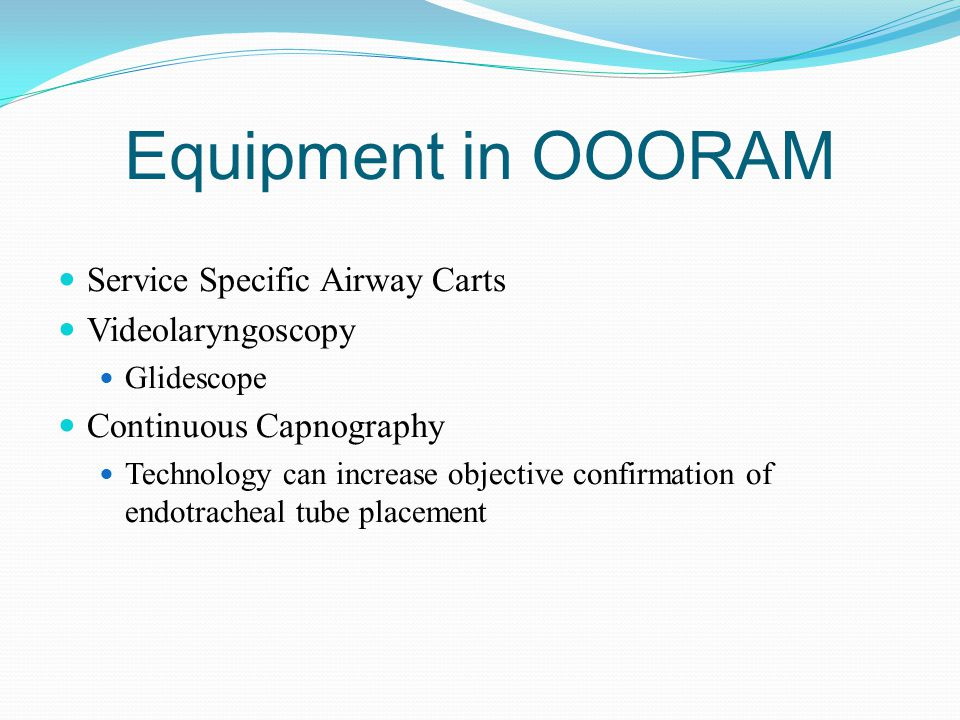 Equipment in OOORAM Service Specific Airway Carts Videolaryngoscopy